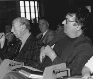 """1991 Premio """"inedito"""" a Dario Bellezza. Qui con Valentino Bompiani"""